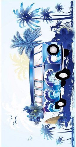 LARGE COTTON VELOUR BEACH HOLIDAY TOWEL '' BLUE CAMPERVAN DESIGN ''